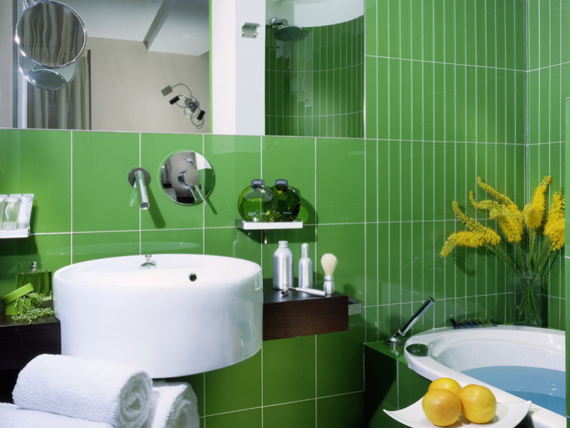 Green Bathroom at the Hotel Art Rome